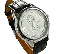 Men's Fashion Style Big Dial Leather Band Quartz Casual Wrist Watch (Assorted Colors)