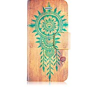 Wooden Style Leather Full Body Case with Card Slot and Magnetic Snap for iPhone 4/4S