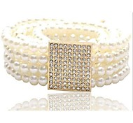 Women's Imitation Pearl Wide Belt,Cute Casual Solid