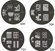 1 Pieza de la Serie M redondeado Resumen de diseño de uñas de arte sello estampado de la placa de la plantilla de imagen No.69-72 (Assorted Pattern)