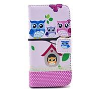 niedliche Eule Familien sitzen auf dem Baum-Muster PU-Leder Ganzkörper-Fall für Samsung i9190 S4 mini