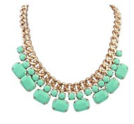 European  (Geometric) Golden Alloy Statement Necklace(Black,White,Pink,Green,Blue) (1 Pc)