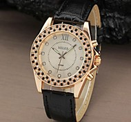 Unisex Fashion Rhinestone Case PU Band Quartz Wrist Watch (Assorted Colors)