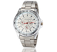 Men's Racing Dial Silver Case Steel Band Quartz Wrist Watch (Assorted Colors)