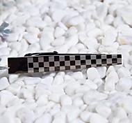 L'argent des hommes élégants / Noir Chequer acier inoxydable 316L pinces à cravate