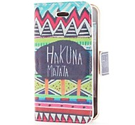 Hakuna Matata Style Flip Leather Case with Stand and Card Slot for iPhone 4/4S