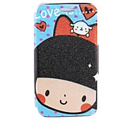 For Samsung Galaxy Case with Stand / Flip / Pattern Case Full Body Case Cartoon PU Leather Samsung S5