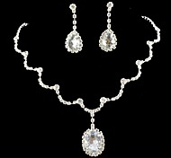 Bridal Wedding Bridesmaid Tennis Necklace Set Celebrity Inspired Clear CZ Crystal Jewelry sets