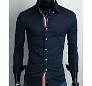 Camisa De los hombres Un Color Casual-Mezcla de Algodón-Manga Larga-Azul / Blanco