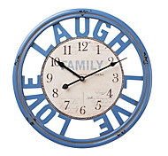 "18""H Blue Wood Number Style Wall Clock"