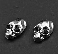Cráneo Rhinestone Punk Negro Pendientes magnéticos (1 par)
