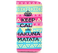 Tribal Carpet Hakuna Matata Pattern Full Body Leather Case with Card Holder for iPhone 5C