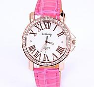 Women'  Round Dial Leather Band Round Dial Quartz Wrist Watch