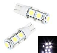 Merdia  5W 200LM  T10 9x5050SMD LED White Light License Plate Light / Instrument Lamp(2 PCS/12V)