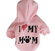 Dog / Cat Hoodie Pink Winter Letter & Number