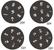 1 Parte M Series Flower Design arredondado Nail Art Stamp Estamparia Imagem da Placa NO.29-32 (Padrão sortidas)