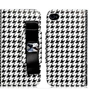 Houndstooth Print Faux Leather Flip Case with Card Slots for iPhone 4/4S