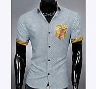 Shirt Pocket Empalme color Mantas de manga corta de los hombres