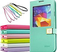 Virar Capa de Couro Estilo Material Plástico e PU com Phone Call janela de visualização para i9600 Samsung Galaxy S5