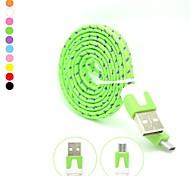 100cm haut débit de qualité coloré Nylon tissé plat Micro câble de recharge USB pour Samsung Galaxy S3/S4