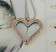 Fashion Rose Gold Heart Shape Full CZ Diamonds 316L Stainless Steel Can Put Ornamental Pendant Necklace