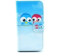 Owl Design PU Full Body Case with Card Slot for iPhone 4/4S