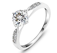 Genuine 925 Classic Sterling Silver Ring Wedding Ring Jewelry CZ Zircon Sterling Silver Rings