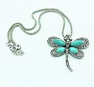 Vintage argento antico della libellula del turchese della collana (verde) (1 Pc)