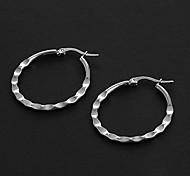 Fashion Knurling 2.5CM Flat Shape Silver Stainless Steel Hoop Earrings (1 Pair)