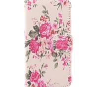 Flower Pink Design PU Protective Case with Card Slot for iPhone 4/4S