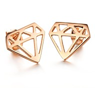 High Quality Fashion Creative Geometry Titanium Steel Plating Rose Earrings