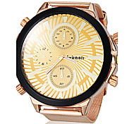 Men's Big Dial Gold Steel Band Quartz Wrist Watch (Assorted Colors)