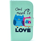 Owl Need Love Cartoon Pattern PU Leather Case with Card Holder for Samsung Galaxy Trend Duos S7562