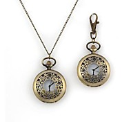 Unisex Hollow Star Pattern Quartz Metallic Necklace Watch And Keychain Watch