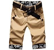 Men's Print Casual Shorts,Cotton Black / Yellow / Gray