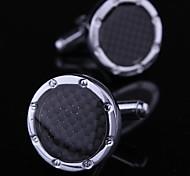 xinclubna® mode fibre de carbone ronde en argent tonique homme boutons de manchette de modèle pour les hommes (de 1 paire)