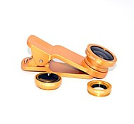Clipe Universal 3 em 1 lente grande angular / Macro Lens/180 Fish Eye Lens Kit Set para iPhone / iPad / Samsung Telefone