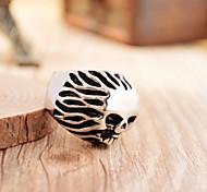 Men's Antique Silver Cast Metal Hair Skull Stainless Steel Ring