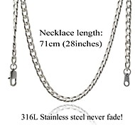 Necklace Steel Chain Necklaces Jewelry Wedding / Party / Daily / Casual Fashion Stainless Steel / Titanium Steel Silver 1pc Gift