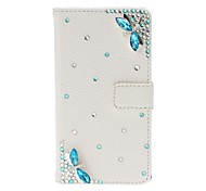 DIY Dragonfly with Rhinestone Pattern Litchi Texture Leather Case with Stand for Sony Xperia L S36h