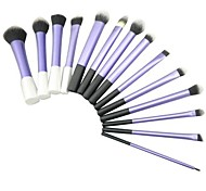 14 Pcs Blue Sky Super Soft Taklon Hair Cosmetic Brush Kit with White and Black Handle