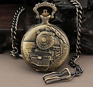 Men's Round Nostalgia Steam Train Head Quartz Analog Pocket Watch Cool Watch Unique Watch
