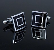 Fashionable Square Black Silver Man Checked Pattern Cufflink for Men (1pair) Jewelry