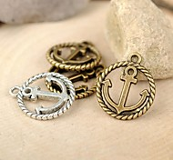 Eruner®18*15MM Alloy Round Anchor Charms Pendants Jewelry DIY (10PCS,Assorted Color