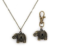 Unisex War Elephant Pattern Quartz Metallic Necklace Watch And Keychain Watch