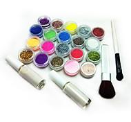 Livraison gratuite Best Selling (17pcs Brillant poudre + 2 + Brosse Tatoo Pochoirs + 2 Glue) / Set C141