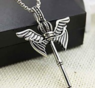 Z&X®  Fashion And Vintage Crown Wings Titanium Steel Pendant Necklace