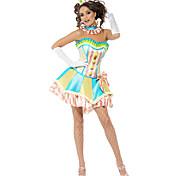 Disfraces de Halloween divertido payaso multicolor de las mujeres de poliéster