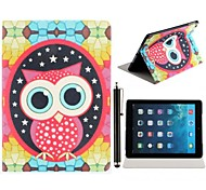 Pretty Owl Printing Design PU Leather Full Body Case with Stand and A Stylus Touch Pen for iPad Air