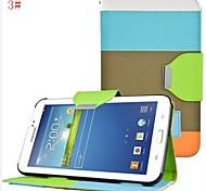 Tres Color PU cuero de la caja de cuerpo completo con la correa y pegatinas para Samsung Galaxy Tab 7.0 P3200 3